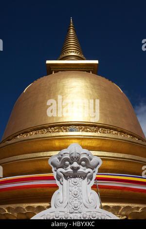 Golden stupa, dagoba, golden temple, Rangiri Vihara, Dambulla, Central Province, Sri Lanka - Stock Photo
