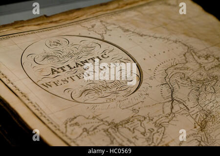 'New Chart of the Atlantic or Western Ocean Improved by W. Heather' map title, circa 1828 - Stock Photo