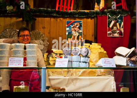 Christmas craft market at Ludwigsberg, Germany, a cheese vendor at the annual Xmas fair - Stock Photo