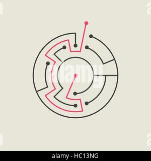 simple circular maze isolated on beige background Stock