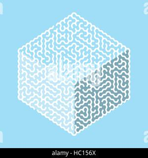 creative hexagon labyrinth in cube shape isolated on blue background - Stock Photo