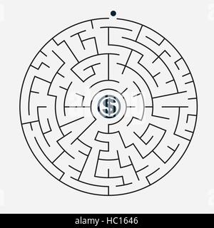 simple round maze with money icon isolated on grey background - Stock Photo