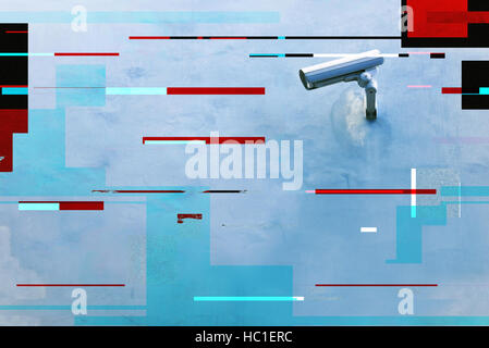 CCTV security camera with digital glitch effect - Stock Photo