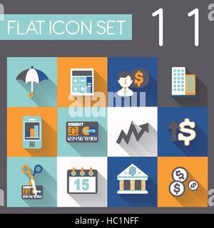 investing and finance icon set in flat design - Stock Photo