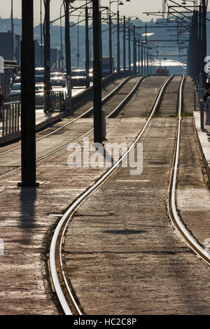Tram tracks on bridge in Istanbul, a perspective look of detail metal rails for the tram as part of urban transport - Stock Photo