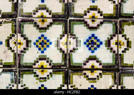 Traditional portuguese tiles, azulejos, in Porto. - Stock Photo