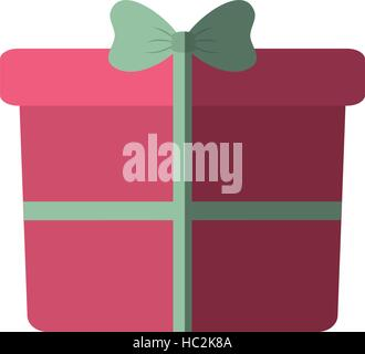 pink big gift box with bow color shadow - Stock Photo