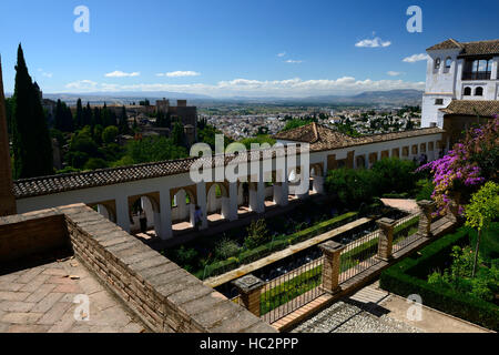 Terraces Overview Generalife gardens Alhambra Palace UNESCO world heritage site RM floral - Stock Photo