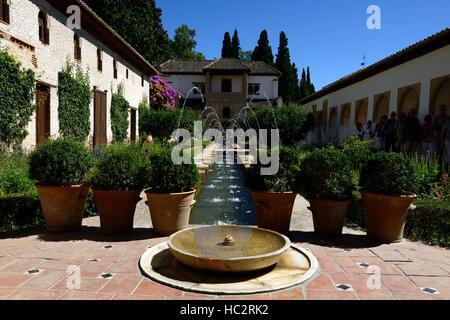 Patio de la Acequia Ornamental garden Irrigation channel Palacio de Generalife Alhambra Palace Granada Spain RM - Stock Photo