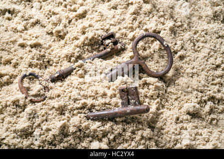Key lost in sand. Find an opportunity - Stock Photo