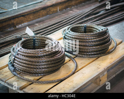 Industrial Wooden Reel With Steel Wire Rope In Mechanical