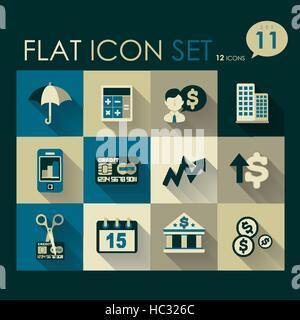 investing & finance icon set vector flat design - Stock Photo