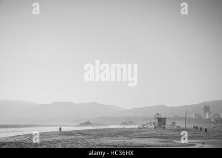 A moody feeling of Santa Monica beach early in the morning. - Stock Photo