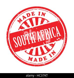 illustration of grunge rubber stamp with the text made in South Africa written inside - Stock Photo