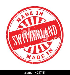 illustration of grunge rubber stamp with the text made in Switzerland written inside - Stock Photo