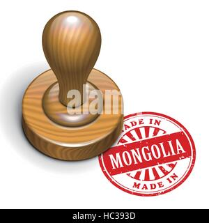 illustration of grunge rubber stamp with the text made in Mongolia written inside - Stock Photo