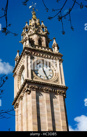 The Albert Memorial Clock is a tall clock tower situated at Queen's Square in Belfast, Northern Ireland, UK. It - Stock Photo