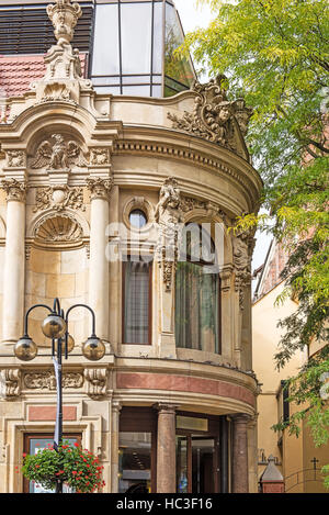 Facade of the famous hotel in an old European city. Wroclaw, Poland - Stock Photo