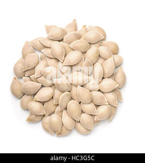 Top view of pumpkin seeds isolated on white - Stock Photo