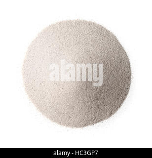 Top view of white silica sand isolated on white - Stock Photo