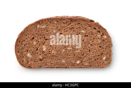 Slice of wholegrain rye bread with bran and seeds isolated on white - Stock Photo