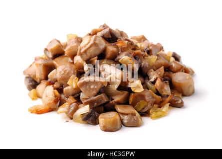 Pile of roasted mushrooms isolated on white - Stock Photo