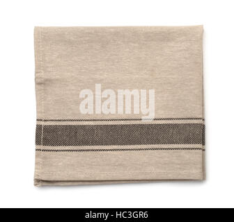 Top view of folded linen napkin isolated on white - Stock Photo