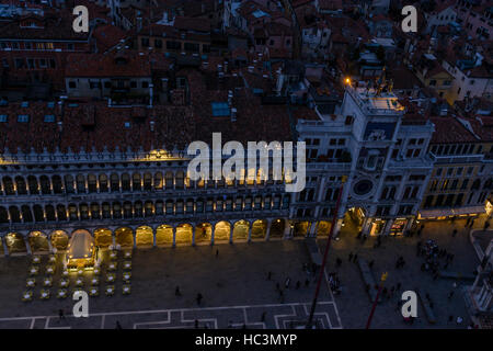 A high level view down to St. Mark's Square in Venice, Italy at dusk - Stock Photo