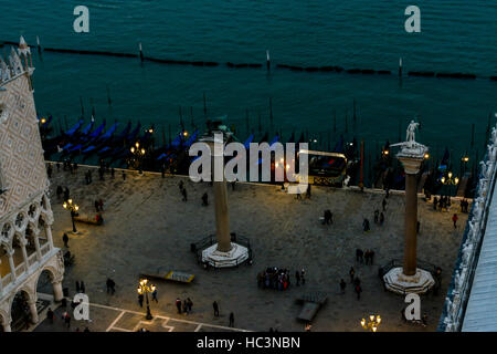 Looking down on the end of St. Mark's Square in Venice, Italy at dusk - Stock Photo