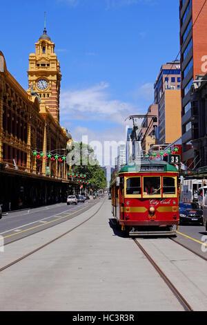 Melbourne's historic tram, which runs a circular route round the city centre. Melbourne, Victoria,Australia - Stock Photo