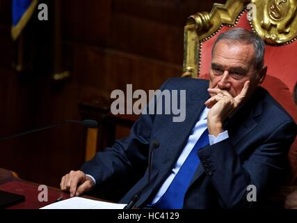 Rome, Italy. 7th Dec, 2016. President of the Senate Pietro Grasso looks on as he attends a session at the Senate - Stock Photo