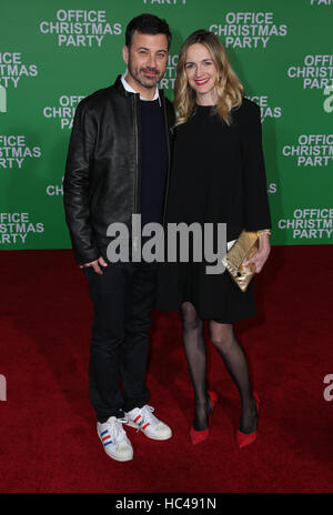Westwood, Ca. 07th Dec, 2016. Jimmy Kimmel, Molly McNearney arrive at the premiere of Paramount Pictures' 'Office - Stock Photo