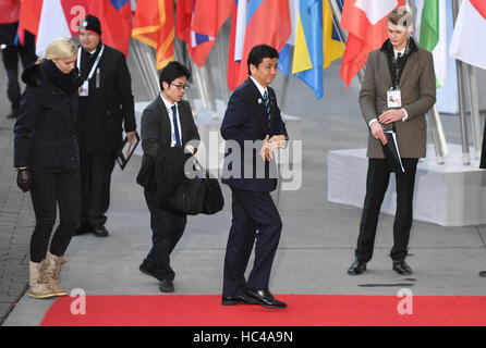 Hamburg, Germany. 8th Dec, 2016. Japanese Foreign Minister, Nobuo Kishi, on his way to the meeting of the OSCE ministerial - Stock Photo
