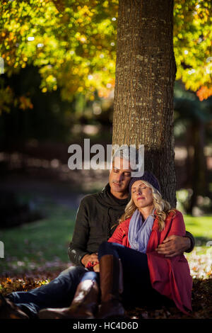 Couple relaxing under tree at park - Stock Photo