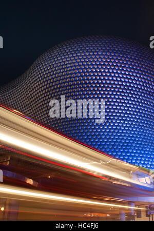 Car Light trails at Selfridges Department Store, Birmingham, West Midlands, England, United Kingdom, Europe - Stock Photo