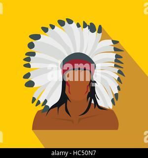 American indian flat icon - Stock Photo
