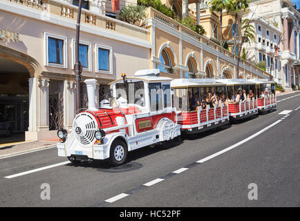 Port Hercules, Local sight, entertainment for tourists, the Engine on wheels, the preparation of the yacht show - Stock Photo
