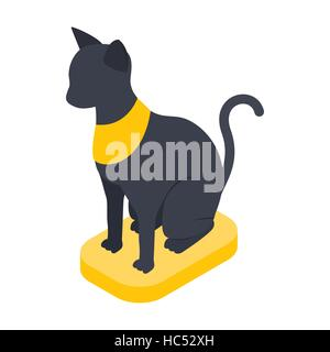 Black Egyptian cat icon, isometric 3d style - Stock Photo