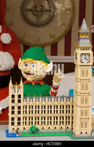 Elf and houses of Parliament made from Lego displayed in covent Gardens london England - Stock Photo