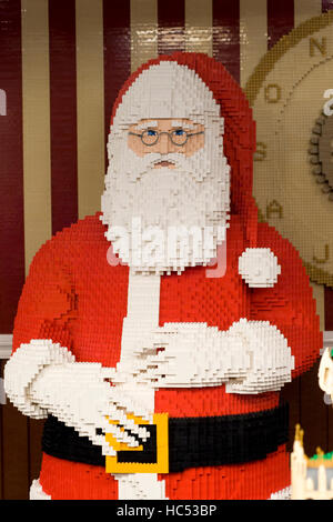 Father Christmas made from Lego displayed in covent Gardens london England - Stock Photo
