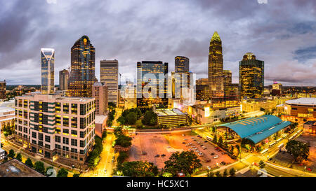 Charlotte, North Carolina, USA uptown skyline panorama. - Stock Photo