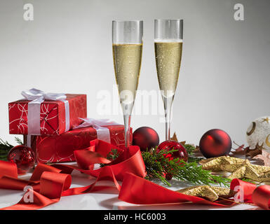 Pair glass of champagne. New year celebration or christmas concept theme. Celebration concept. - Stock Photo