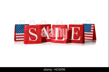 Sales bag. Flag of united states of america on shopping bags. On a white background - Stock Photo