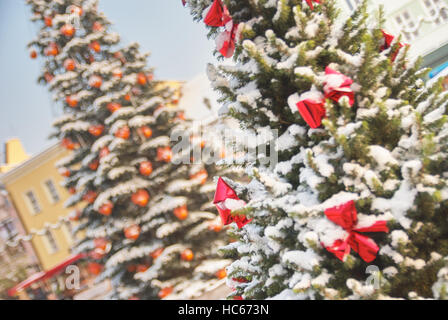 Large outdoor Christmas tree in Rybnik Poland - Stock Photo