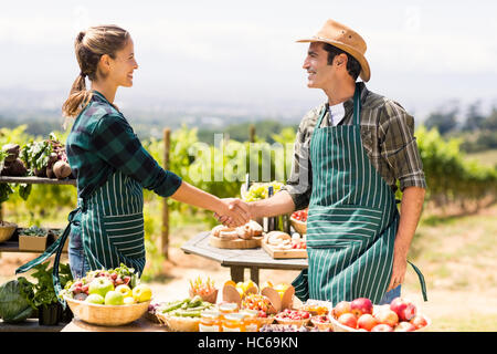 Farmer couple shaking hands with each other - Stock Photo