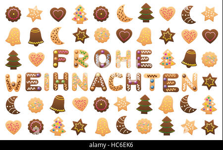 MERRY CHRISTMAS - written with christmas cookies letters Stock ...