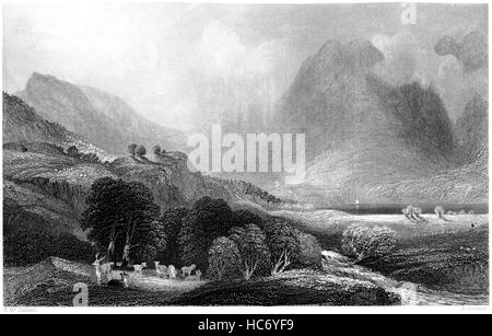 An engraving of Loch Goil from the Head of the Lake, Argyllshire scanned at high resolution from a book printed - Stock Photo