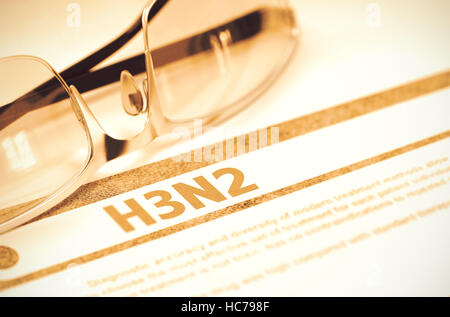 H3N2 - Printed Diagnosis on Red Background. 3D Illustration. - Stock Photo