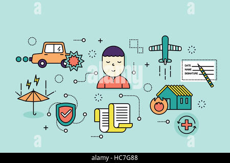 Line illustration related to insurance - Stock Photo