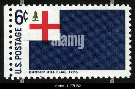 US,circa 1968, postage stamp, Bunker Hill Flag 1775 - Stock Photo